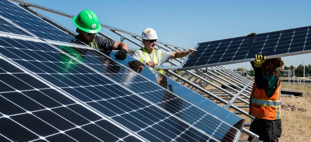 solar panels for a sustainable construction project