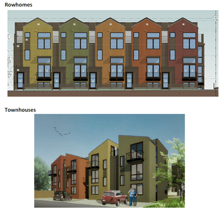 Rendering of five rowhomes and four townhomes, construction funding provided by Broadmark