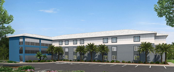 A rendering of a low-rise multifamily housing project that will be built with a construction loan from Broadmark